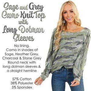 Sage & Grey Camo Knit Top w/ Long Dolman Sleeves